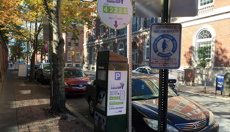 Philadelphia Parking Authority kiosk in Center City on 9th Street