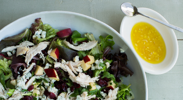 Greens with Chicken, Apple, And Blue Cheese