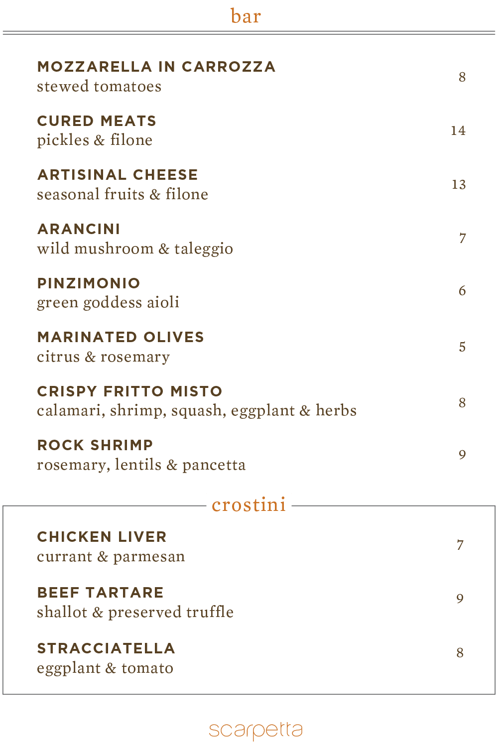 scarpetto BAR SNACKS menu 9.28