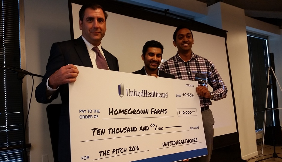 Executive Director of UnitedHealthcare of Pennsylvania and Delaware, Dan Tropeano and The Pitch winners, Parth Chauhan and Zeel Patel of HomeGrown Farms.