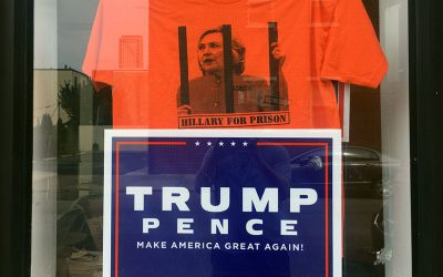"Donald Trump - with ""prison for Hillary"" shirt"