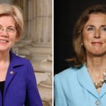 Sen. Elizabeth Warren, left, and Senate candidate Katie McGinty. McGinty photo by Matt Slocum/AP