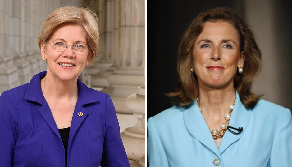 Sen. Elizabeth Warren, left, and Senate candidate Katie McGinty. McGinty photo by Matt Slocum/AP