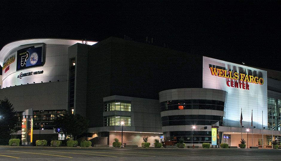 The Wells Fargo Center, home of the Flyers and Sixers, at night