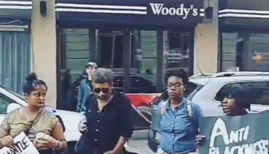 Protesters outside of Woody's on September 23rd.