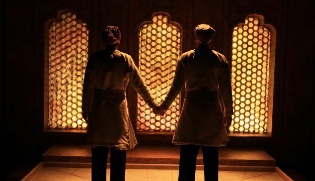 Anthony Mustafa Adair and Jensen Titus Lavallee in Guards at the Taj at Theatre Exile. (Photo by Paola Nogueras)