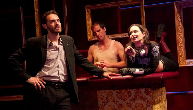 Chris Anthony, Ross Beschler, and Kayla Anthony in Delirum at EgoPo. (Photo by Dave Sarrafian)