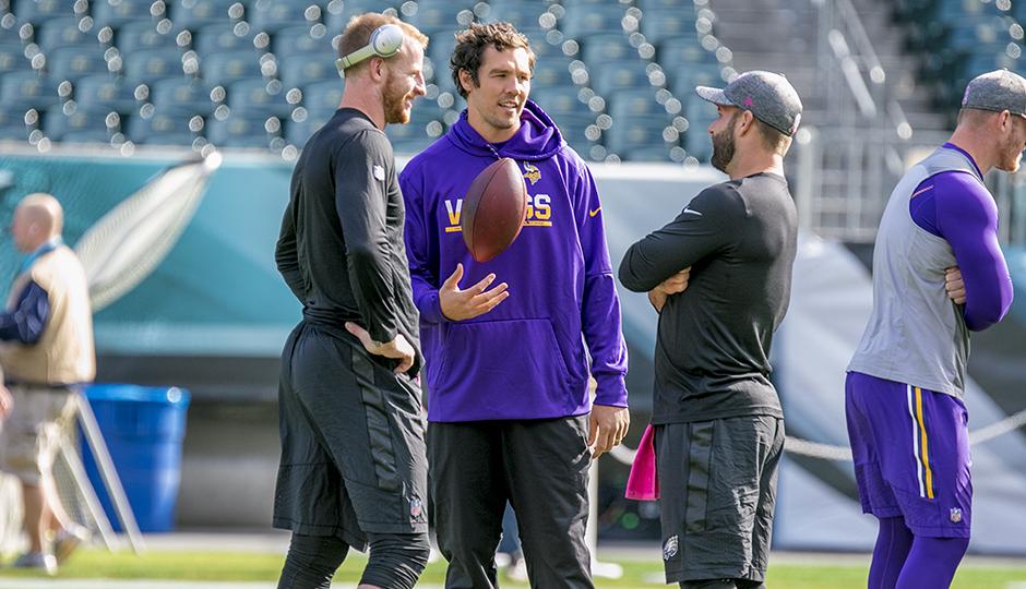 Carson Wentz, Sam Bradford, and Chase Daniel. (Jeff Fusco)