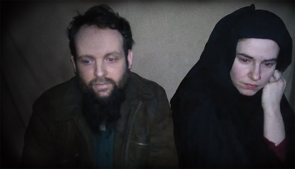 Caitlan Coleman and her husband, Joshua Boyle, in a video released by their captors