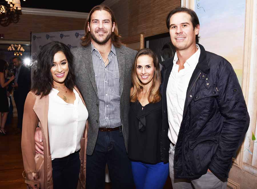 A rare night out for the new parents Elizabeth and Todd Herremans with Heather Mitts and AJ Feeley, both couples just had baby girls 6 months ago.