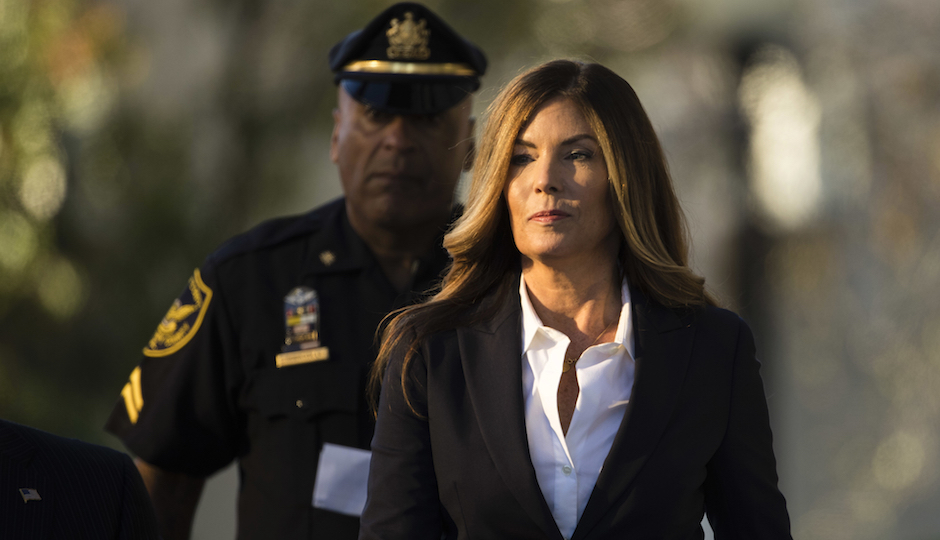 Former Pennsylvania Attorney General Kathleen Kane arrives at Montgomery County courthouse for her scheduled sentencing hearing in Norristown, Pa, Monday, Oct. 24, 2016. Kane, a Scranton-area Democrat, will learn if she is going to jail over a perjury and obstruction case that stemmed from a political feud. (AP Photo/Matt Rourke)