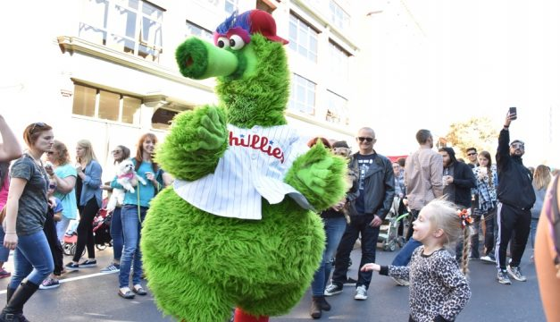 The Phillie Phanatic will swing by the Old City Fest on Sunday.