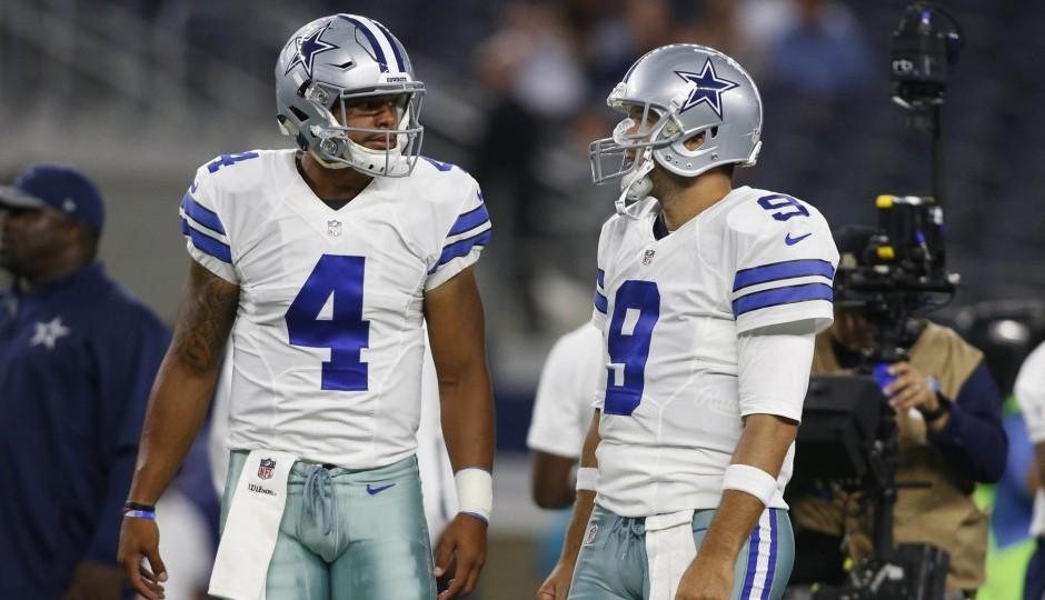 Dak Prescott and Tony Romo. (USA Today Sports)