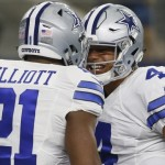 Ezekiel Elliott and Dak Prescott. (USA Today Sports)