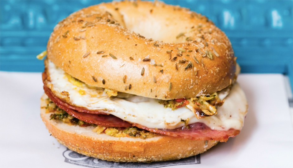 Exclusive bagel sandwich from Knead Bagels for Caviar's 2nd anniversary in Philly