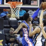 Joel Embiid blocks Wade Baldwin's shot in the second quarter of the Grizzlies 121-91 preseason victory|Nelson Chenault-USA TODAY Sports