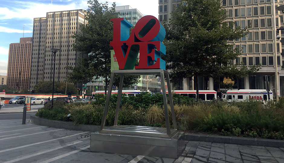 the LOVE sculpture in Dilworth Park