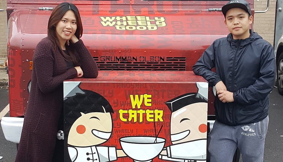 Alanna Li and Bailin Chen with their Wheely Wheely Good food truck.