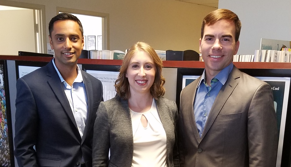 Left to right: RoundTrip chief information officer, Ankit Mathur; RoundTrip corporate administrator Angela Damiano, and RoundTrip founder and CEO Mark Switaj.