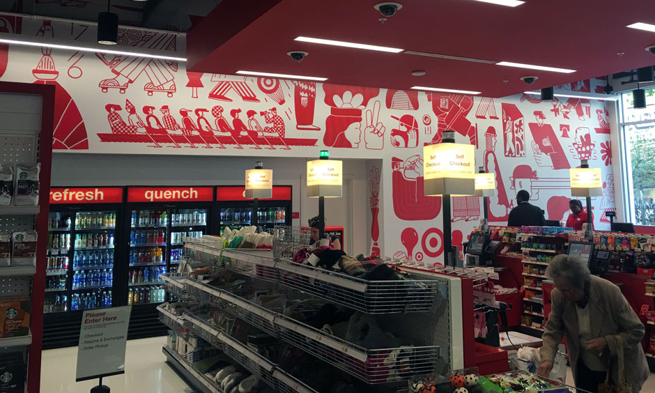 Target checkout counter - with mural behind it