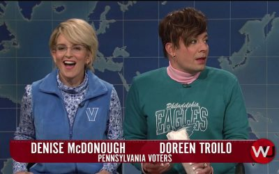 Tina Fey and Jimmy Fallon as suburban Philly voters on SNL