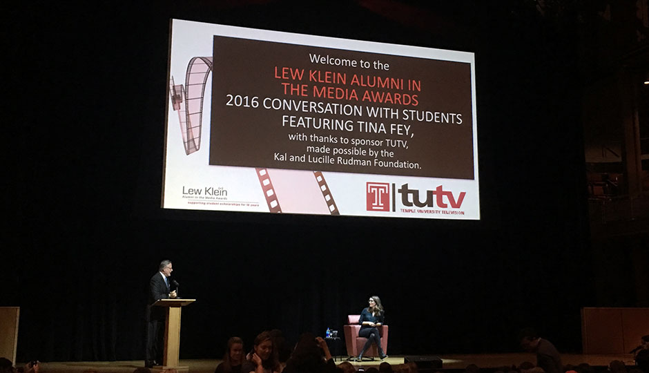 Tina Fey speaking at Temple