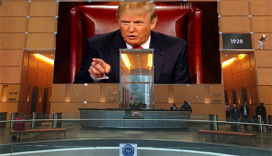 Donald Trump in the Comcast Center lobby