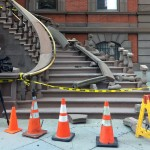 Union League steps - railing destroyed - CBS 3 cameraman filming