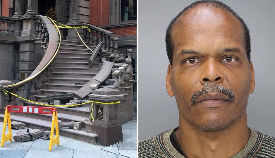 Police have named Reginald Phillips, right, as a suspect in Monday's vandalism of the Union League steps. Photo of steps by Dan McQuade; Phillips courtesy of the Philadelphia Police Department