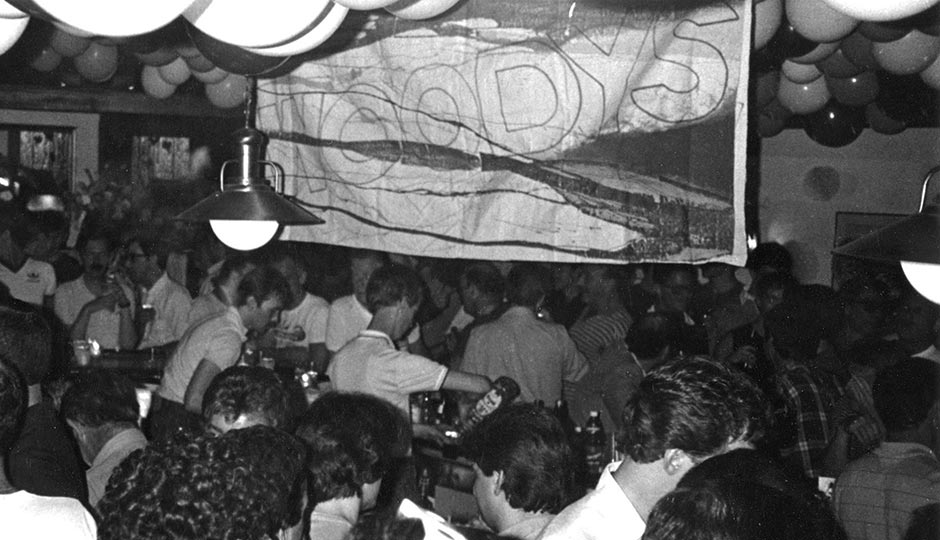 Woody's, one of the oldest bars still in operation in the Gayborhood, attracted a predominantly white clientele but was not a prime target for complaints of discrimination at the time. This photo is from its third anniversary party in 1983, well before it expanded to occupy its entire building. Photo from the collections of the John J. Wilcox, Jr. Archives at the William Way LGBT Community Center