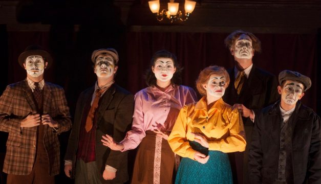 Joey Teti, Jacob Kemp, Marlyn Logue, Rachel Brodeur, Mike Dees, and Drew Sipos in Dublin by Lamplight at Inis Nua. (Photo by Katie Reing)