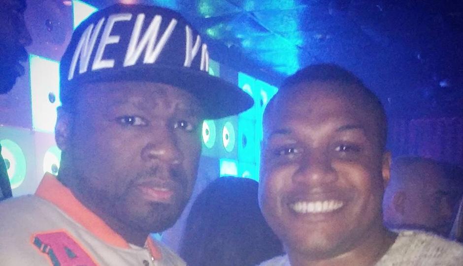 50 Cent with Ernest Owens at Voyeur Nightclub.