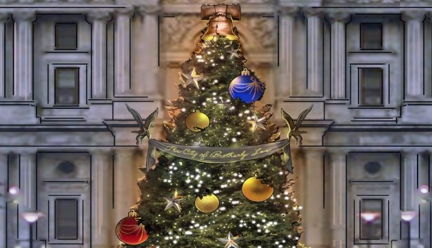 a rendering of the philadelphia holiday tree at dilworth park courtesy of david korins design