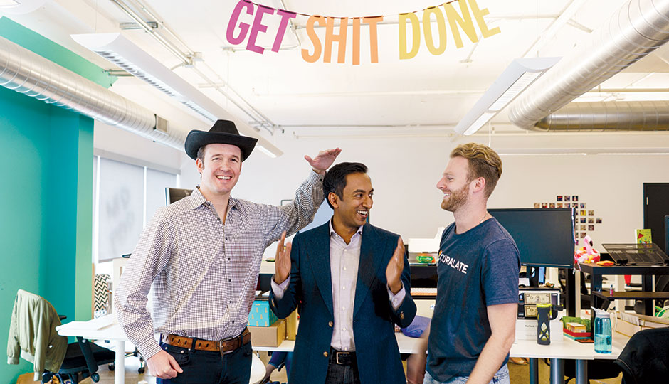 From left: Curalate co-founders Shiftan and Gupta and marketing director Lowry in their Center City office | Photograph by Gene Smirnov