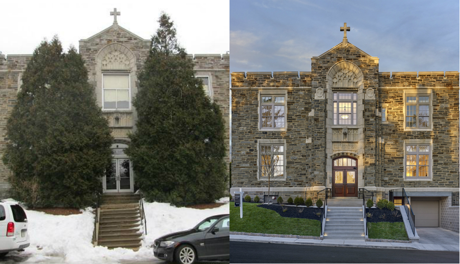 The former St. Margaret's School as it looked when Moser bought it in 2014, left, and Forrest Walk today, right. | Left photo: Cheryl Allison, Main Line Media News; all other photos: © Don Pearse Photography, courtesy T.R. Moser