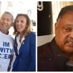 Katie McGinty poses with Mike Toub in front of Relish (left), while Rev. Jesse Jackson answers questions inside the restaurant.  (Photos: HughE Dillon)