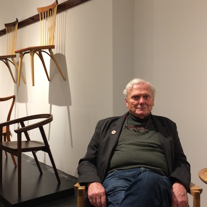 Tom Moser with some of his classic chairs in the showroom. | Photo: Sandy Smith
