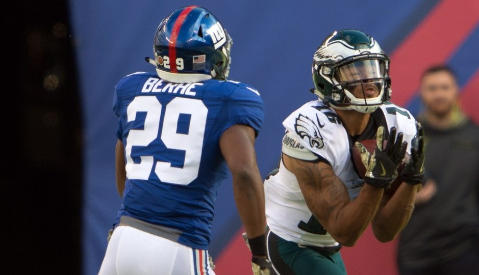 Nov 6, 2016; East Rutherford, NJ, USA; Philadelphia Eagles wide receiver Bryce Treggs (16) makes a catch over New York Giants free safety Nat Berhe (29) during the first half at MetLife Stadium. Mandatory Credit: William Hauser-USA TODAY Sports