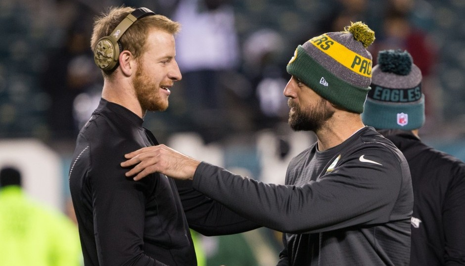 Carson Wentz and Aaron Rodgers. (USA Today Sports)