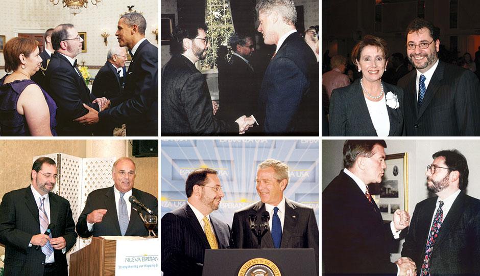 Luis Cortés with president Barack Obama, president Bill Clinton, U.S. Representative Nancy Pelosi, Pennsylvania governor Ed Rendell, president George W. Bush and Pennsylvania governor Tom Ridge.