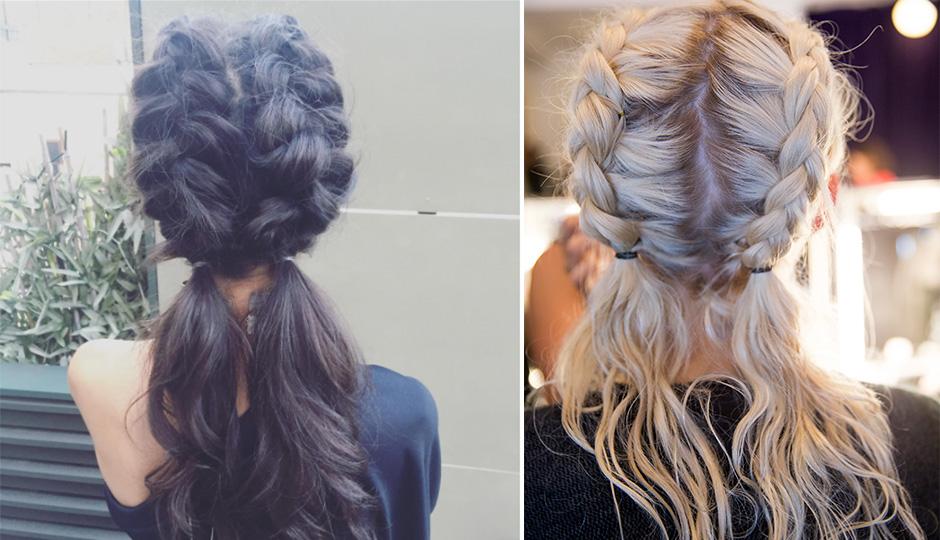 gym hair braided pigtails