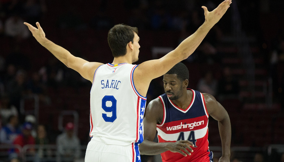 Sixers power forward Dario Saric reacts after scoring a basket during the Sixers 109-102 victory. Saric finished with 13 points and 12 rebounds on the night | Bill Streicher-USA TODAY Sports
