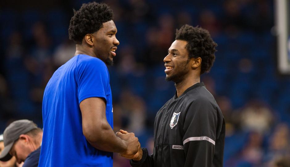 Former Kansas teammates Joel Embiidf and Andrew Wiggins talk prior to Thursday night's game between the Minnesota Timberwolves and Philadelphia 76ers | Brace Hemmelgarn-USA TODAY Sports