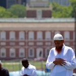 File photo of Muslims praying on Independence Mall in 2010. Matt Rourke/AP