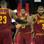 LeBron James (left) and Kyrie Irving (right) react after a basket in the second quarter of Cleveland's 112-108 victory   Bill Streicher-USA TODAY Sports