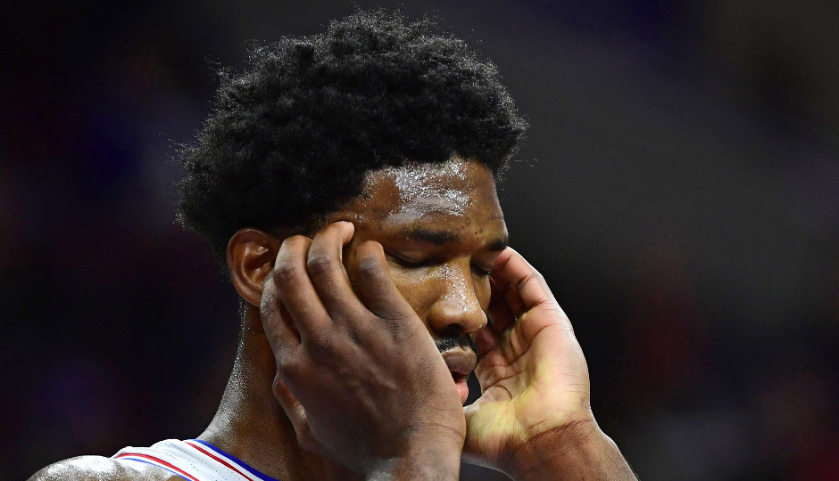 Sixers center Joel Embiid is averaging 18.8 points, 6.8 rebounds, and 2.3 blocked shots per game so far as a rookie. | Eric Hartline-USA TODAY Sports