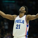 Joel Embiid celebrates late in the 4th quarter during the Sixers 101-94 victory over the Miami Heat | Bill Streicher-USA TODAY Sports