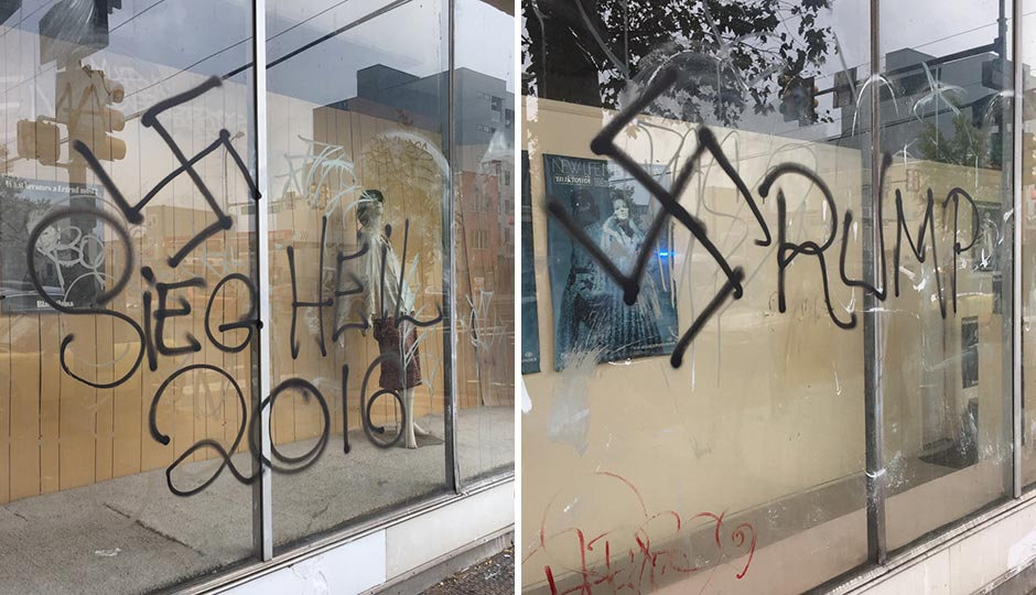 Graffiti on the windows on the abandoned Meglio Furs store in South Philadelphia. Photos by Jared Brey