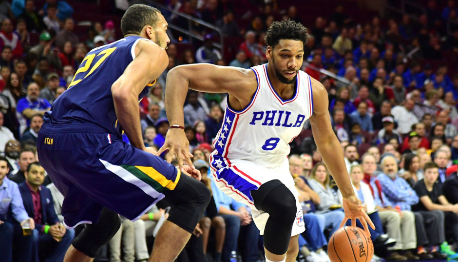 Sixers center Jahlil Okafor drives against Utah Jazz big man Rudy Gobert in the Sixers 109-84 loss at the Wells Fargo Center   Eric Hartline-USA TODAY Sports