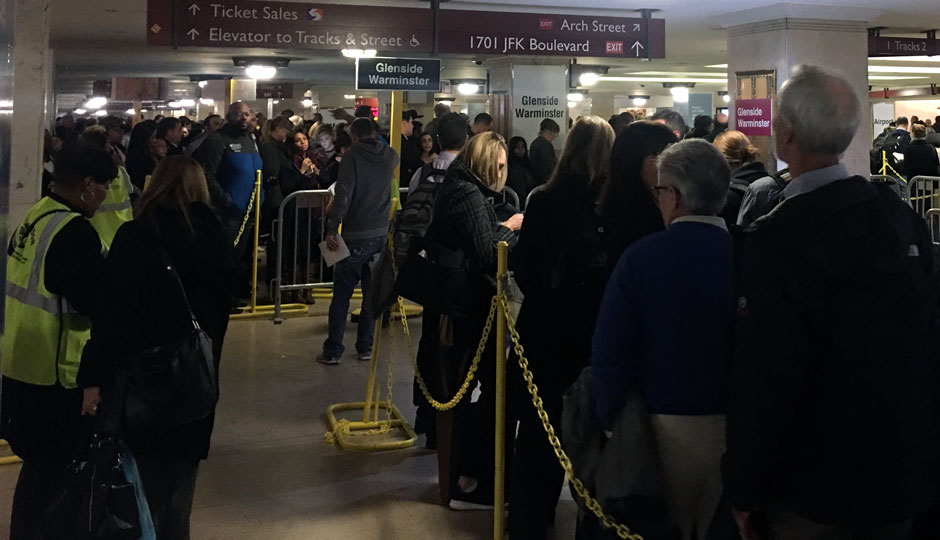 SEPTA commuters in long lines at Suburban